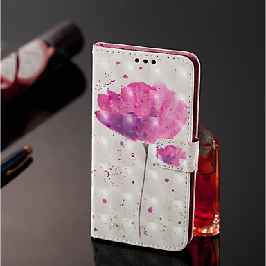 غطاء من أجل Samsung Galaxy J8 / J7 Duo محفظة / حامل البطاقات / مع حامل غطاء كامل للجسم زهور قاسي جلد PU إلى J8 / J7 Duo / J6
