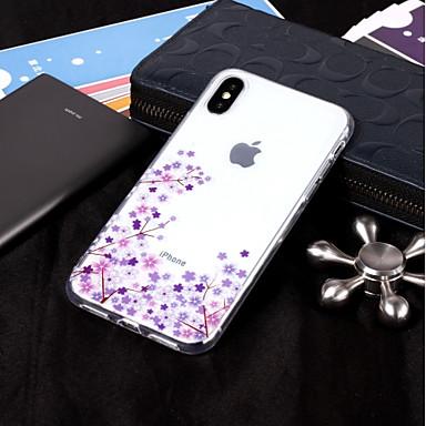 voordelige iPhone X hoesjes-hoesje Voor Apple iPhone X / iPhone 8 Plus / iPhone 8 IMD / Transparant / Patroon Achterkant Bloem Zacht TPU
