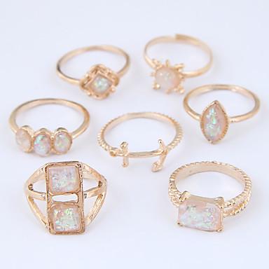 Dame Hul Ring Set Legering Anker Damer Usædvanlige Unikt design Europæisk Mode Moderinge Smykker Guld Til Afslappet 7 7pcs
