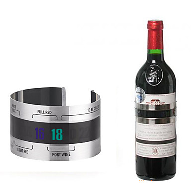 Stainless Steel Wine Bottle Thermal Band Thermometer Cuff Style Bar