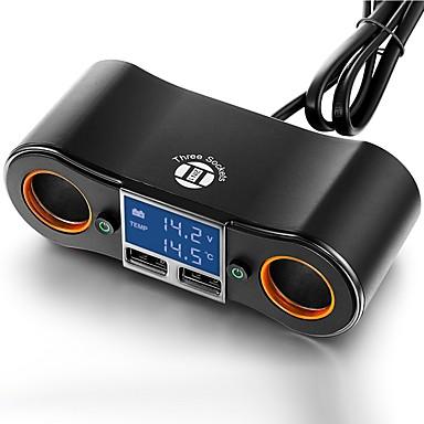 سيارة شحن محول اثنين من مقبس الطاقة ومنافذ USB المزدوج أدى الفولتميتر / ميزان الحرارة الرقمي لمدة 5 فولت