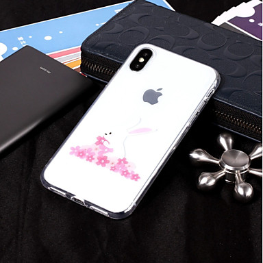 voordelige iPhone X hoesjes-hoesje Voor Apple iPhone X / iPhone 8 Plus / iPhone 8 IMD / Transparant / Patroon Achterkant dier Zacht TPU