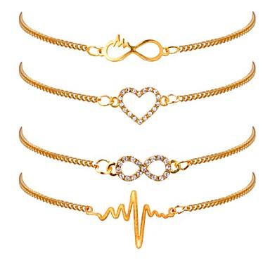 4 buc Pentru femei Brățări cu Lanț & Legături Inimă Ritm Cardiac femei Clasic Modă Placat Auriu Bijuterii brățară Auriu Pentru Zilnic Birou și carieră