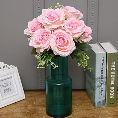 زهور اصطناعية 1 فرع كلاسيكي فردي أسلوب بسيط الحديث الورود الزهور الخالدة أزهار الطاولة