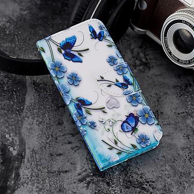 غطاء من أجل Samsung Galaxy A5(2018) / Galaxy A7(2018) / A3 (2017) محفظة / حامل البطاقات / مع حامل غطاء كامل للجسم فراشة قاسي جلد PU