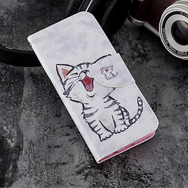 غطاء من أجل Samsung Galaxy A5(2018) / Galaxy A7(2018) / A3 (2017) محفظة / حامل البطاقات / مع حامل غطاء كامل للجسم قطة قاسي جلد PU