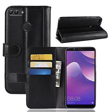 Cell Phone Accessories For Huawei Y7 Prime 2018 Shockproof Premium Leather Wallet Stand Flip Case Cover