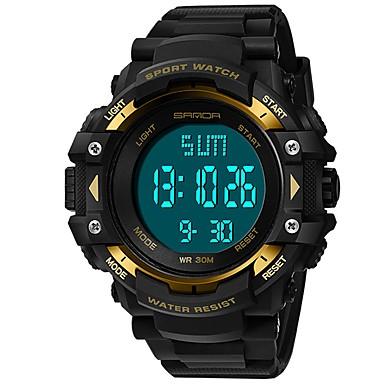 SANDA رجالي ساعة رياضية ساعة رقمية ياباني رقمي جلد اصطناعي أسود 30 m مقاوم للماء رزنامه ساعة التوقف رقمي ترف موضة - أحمر أخضر أزرق / قضية / المرحلة القمر