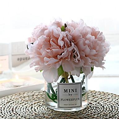 زهور اصطناعية 1 فرع كلاسيكي فردي أنيق الفاوانيا أزهار الطاولة