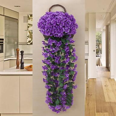 زهور اصطناعية 1 فرع كلاسيكي زهري نباتات أزهار الحائط