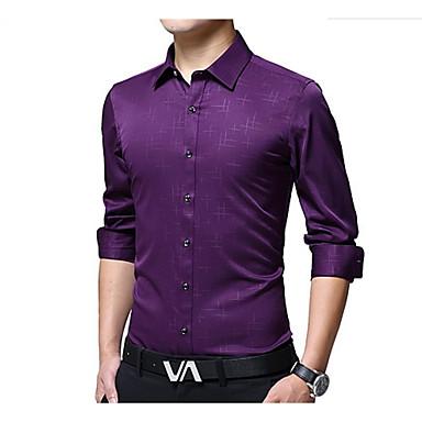 رجالي مناسب للحفلات / عمل الأعمال التجارية قميص, لون سادة ياقة كلاسيكية / كم طويل
