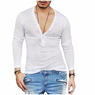 baratos Roupa de Homem Moderna-Homens Camiseta Básico Sólido Linho Branco L / Manga Longa