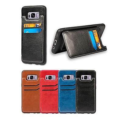غطاء من أجل Samsung Galaxy Note 8 حامل البطاقات / مع حامل غطاء خلفي لون سادة ناعم جلد PU