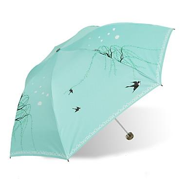 بلاستيك / ستانلس ستيل نسائي مشمس وممطر مظلة ملطية