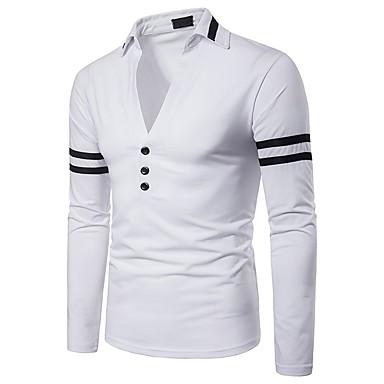 billige Herrers Mode Beklædning-Herre - Ensfarvet / Farveblok Patchwork Basale / Punk & gotisk Polo Sort og hvid Hvid L / Langærmet