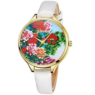 Geneva نسائي ساعة المعصم كوارتز جلد أسود / الأبيض / أحمر تصميم جديد ساعة كاجوال كوول مماثل سيدات كاجوال موضة - أحمر أخضر زهري سنة واحدة عمر البطارية