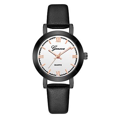 Geneva نسائي ساعة المعصم كوارتز جلد أسود تصميم جديد ساعة كاجوال كوول مماثل سيدات كاجوال موضة - أسود أسود / أبيض أسود / ذهبي روزي سنة واحدة عمر البطارية