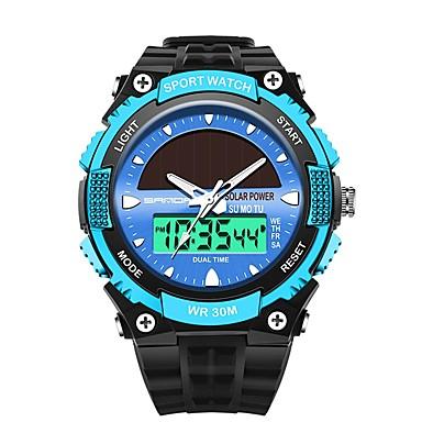 SANDA رجالي ساعة رياضية ساعة رقمية ياباني رقمي أسود 30 m مقاوم للماء رزنامه ساعة التوقف تناظري-رقمي ترف موضة - أحمر أزرق ذهبي / قضية / المرحلة القمر