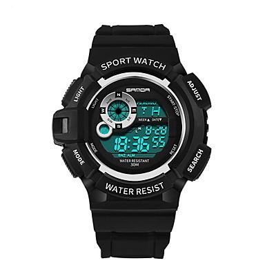 SANDA رجالي ساعة رياضية ساعة رقمية ياباني رقمي سيليكون أسود 30 m مقاوم للماء رزنامه بارد وورد / العبارة رقمي ترف موضة - أسود أحمر أزرق / ساعة التوقف / قضية