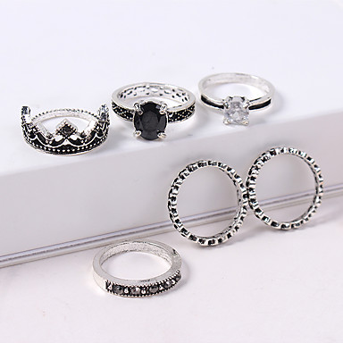 f484b97283 Women's Stylish Ring Set Rhinestone Alloy Crown Ladies Vintage European  Fashion Ring Jewelry Silver For Causal