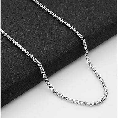 voordelige Heren Ketting-Heren Kettingen Enkele Draad Baht Chain Mariner Chain Europees Titanium Staal Zilver 55 cm Kettingen Sieraden 1pc Voor Dagelijks