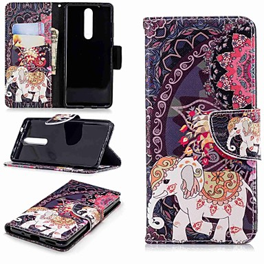 Etui Käyttötarkoitus Nokia Nokia 5.1 / Nokia 3.1 Lomapkko / Korttikotelo / Tuella Suojakuori Elefantti Kova PU-nahka varten Nokia 5 / Nokia 3 / Nokia 2.1