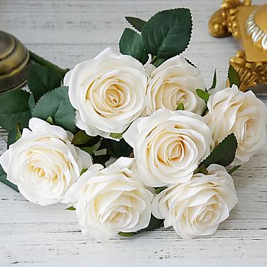 زهور اصطناعية 1 فرع كلاسيكي الزفاف أوروبي الورود أزهار الطاولة