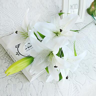 زهور اصطناعية 1 فرع فردي أنيق الزنابق أزهار الطاولة