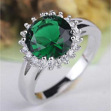 نسائي خاتم 1PC أخضر نحاس حجر الراين مطلي بالبلاتينيوم سيدات كلاسيكي أنيق زفاف مناسب للحفلات مجوهرات كلاسيكي قديم متصنع ثمين جميل / تقليد الماس