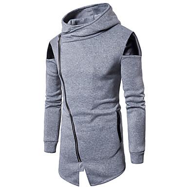 billige Herrers Mode Beklædning-Herre Aktiv / Basale Bukser - Farveblok Sort / Høj krave / Langærmet / Efterår / Lang