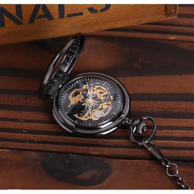 זול שעוני גברים-בגדי ריקוד גברים שעוני שלד שעון כיס אוטומטי נמתח לבד שחור חריתה חלולה שעונים יום יומיים אנלוגי פאר יום יומי גולגולת סטימפונק - שחור
