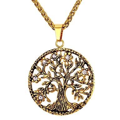 رجالي قلائد الحلي فراغ خارجي شجرة الحياة موضة الفولاذ المقاوم للصدأ ذهبي فضي 55 cm قلادة مجوهرات 1PC من أجل هدية مناسب للبس اليومي