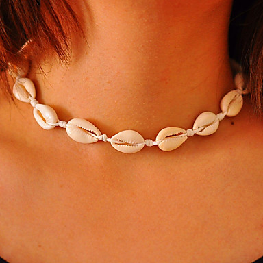 cheap Necklaces-Girls' Choker Necklace Handmade Beach Theme Personalized European Fashion Euramerican Cowry Shell Cowrie Shell White Necklace Jewelry For Daily Casual Bikini