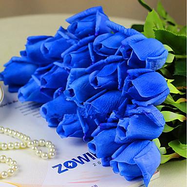 زهور اصطناعية 1 فرع كلاسيكي فردي أنيق النمط الرعوي الورود أزهار الطاولة