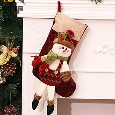 جوارب عيد الميلاد كرتون البوليستر مربع حداثة زينة عيد الميلاد