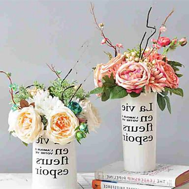 زهور اصطناعية 6 فرع كلاسيكي أوروبي Wedding Flowers الورود الإقحوانات أزهار الطاولة