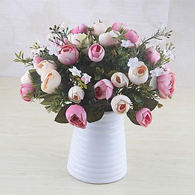زهور اصطناعية 1 فرع كلاسيكي فردي أنيق النمط الرعوي Camellia أزهار الطاولة