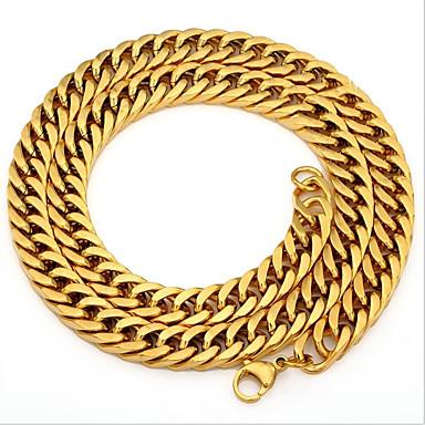 رجالي عقد ستايل الارتباط الكوبي سلسلة الثعلب كلاسيكي أوروبي هيب هوب دبي الصلب التيتانيوم ستانلس ستيل ذهبي 59.7 cm قلادة مجوهرات 1PC من أجل شارع نادي