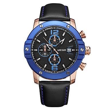 MEGIR رجالي ساعة رياضية ياباني كوارتز جلد طبيعي أسود 30 m مقاوم للماء رزنامه الكرونوغراف مماثل ترف موضة - أسود أزرق / قضية
