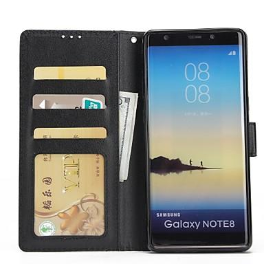 غطاء من أجل Samsung Galaxy Note 8 / Note 5 / Note 4 محفظة / حامل البطاقات / مع حامل غطاء كامل للجسم لون سادة قاسي جلد PU