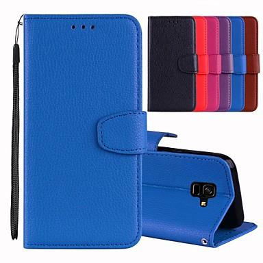 Недорогие Чехлы и кейсы для Galaxy A7-Кейс для Назначение SSamsung Galaxy A5(2018) / A6 (2018) / A6+ (2018) Бумажник для карт / со стендом / Флип Чехол Однотонный Твердый Кожа PU