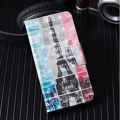 voordelige iPhone 5 hoesjes-hoesje Voor Apple iPhone X / iPhone 8 Plus / iPhone 8 Portemonnee / Kaarthouder / met standaard Volledig hoesje Landschap / Eiffeltoren Hard PU-nahka