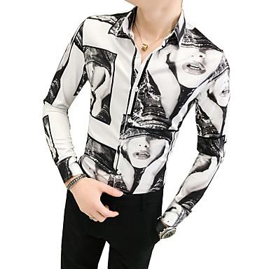 Hombre Vintage Camisa, Cuello Inglés Delgado Retrato Negro XL / Manga Larga / Otoño