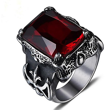 cheap Men's Rings-Men's Ruby Vintage Style Midi Ring Signet Ring Titanium Steel Cocktail Ring Vintage scottish Ring Jewelry Silver For Party Daily 8 / 9 / 10 / 11 / 12