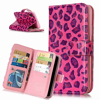 voordelige iPhone X hoesjes-hoesje Voor Apple iPhone XS / iPhone XR / iPhone XS Max Portemonnee / Kaarthouder / met standaard Volledig hoesje Luipaardprint / dier Hard PU-nahka