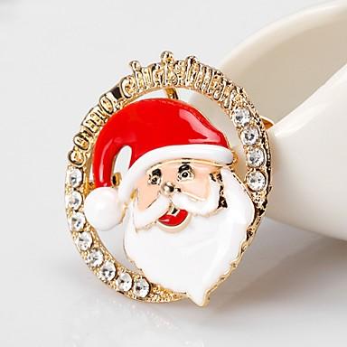 نسائي دبابيس كلاسيكي بدل سانتا سيدات بسيط أساسي حجر الراين بروش مجوهرات ذهبي من أجل عيد الميلاد