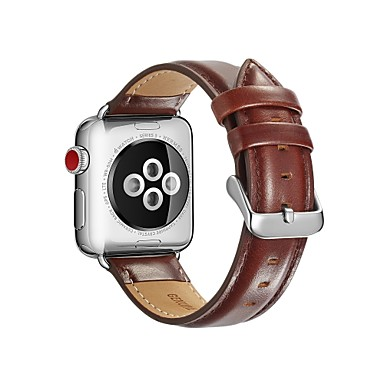 billige Herreure-Kalvehår Urrem Strap for Apple Watch Series 4/3/2/1 Sort / Rød / Brun 23cm / 9 tommer 2.1cm / 0.83 Tommer