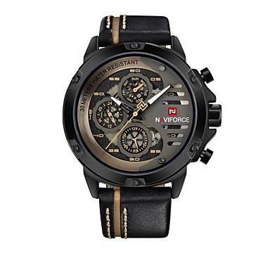 Χαμηλού Κόστους Ανδρικά ρολόγια-NAVIFORCE Ανδρικά Αθλητικό Ρολόι Ρολόι Καρπού Ιαπωνικά Γιαπωνέζικο Quartz Γνήσιο δέρμα Μαύρο 30 m Ανθεκτικό στο Νερό Ημερολόγιο Καθημερινό Ρολόι Αναλογικό Καθημερινό Μοντέρνα -