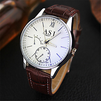 זול שעוני גברים-ASJ בגדי ריקוד גברים שעוני שמלה שעון יד קווארץ עור חום עמיד במים אנלוגי קלסי יום יומי - כחול שחור שחור / לבן שנה אחת חיי סוללה / SRUO SR626SW