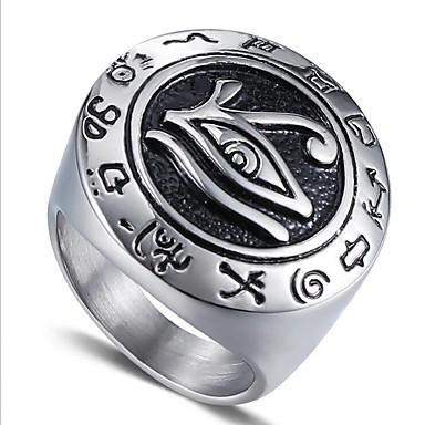 ieftine Inele-Bărbați Midi Ring / Inel sigiliu / Inelul Iluminati 1 buc Auriu / Argintiu Oțel titan Circle Shape Vintage / Militar Cadou / Zilnic Costum de bijuterii